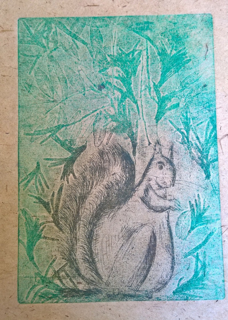 squirrel on lokta paper